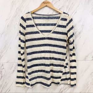 We The Free  |  Striped V-neck Long Sleeve, M